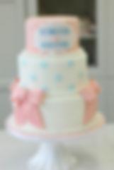 シュガークラフトウェディングケーキ,オーダーメードウェディングケーキ,花嫁様手作り,ピンク,リボン,水玉