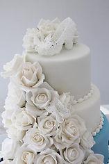 シュガークラフトウェディングケーキ,オーダーメードウェディングケーキ,花嫁様手作り,ピンク,リボン,ガラスの靴