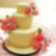 オーダーケーキ,シュガークラフトウェディングケーキ,オーダーメードウェディングケーキ,花嫁様手作り,ピンク,リボン,水玉