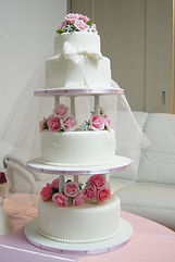 オーダーケーキ,シュガークラフト,ウェディングケーキ,オーダーケーキ,花嫁様手作り,ピンク,リボン,薔薇
