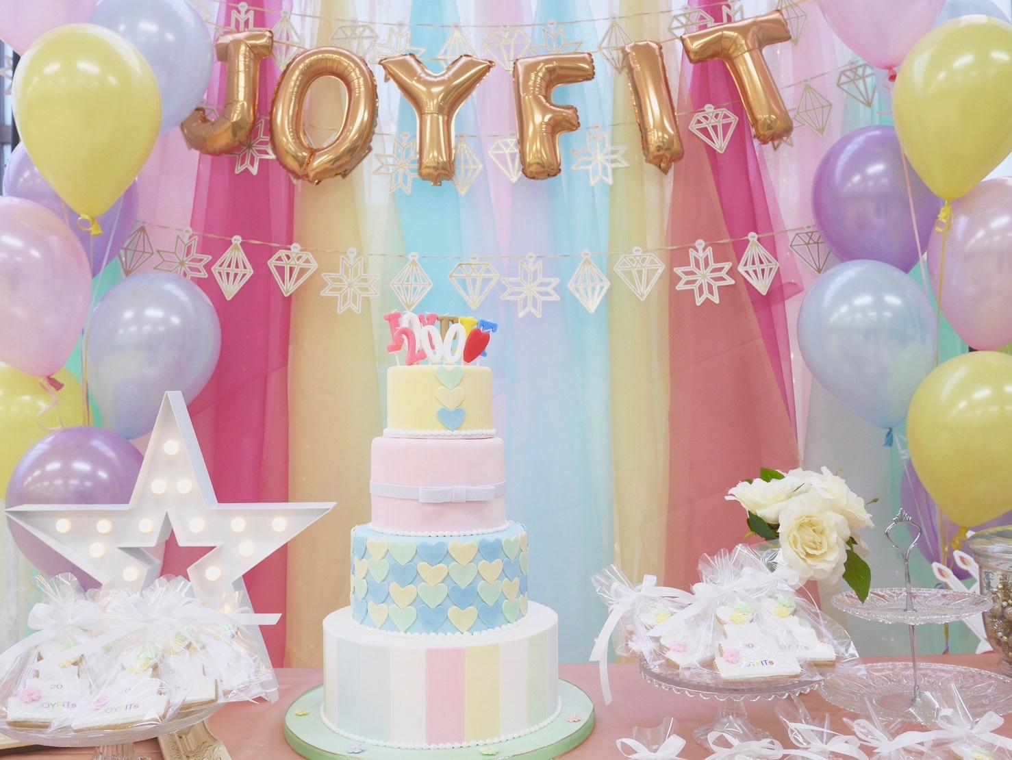 JOYFIT20店舗達成イベント用ケーキ、ノベルティ制作
