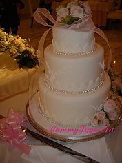 シュガークラフトウェディングケーキ,オーダーメードウェディングケーキ,花嫁様手作り,ピンク,リボン,ばら