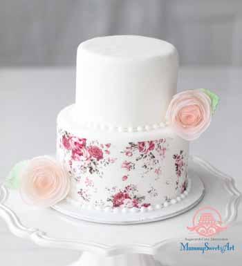 waferpapaer、ウェハーペーパー、ウェディングケーキ、ミニケーキ、シュガーケーキ、シュガークラフト