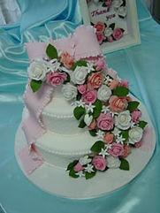 シュガーケーキ,シュガークラフトウェディングケーキ,オーダーメードウェディングケーキ,花嫁様手作り,ピンク,リボン,ばら