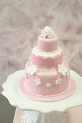 オーダーケーキ,シュガークラフト,ウェディングケーキ,オーダーメードウェディングケーキ,花嫁様手作り,ピンク,リボン,レース