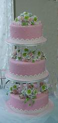 シュガーケーキ,シュガークラフトウェディングケーキ,オーダーメードウェディングケーキ,花嫁様手作り,ピンク,リボン,薔薇