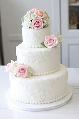 シュガークラフトウェディングケーキ,オーダーメードウェディングケーキ,花嫁様手作り,ピンク,薔薇