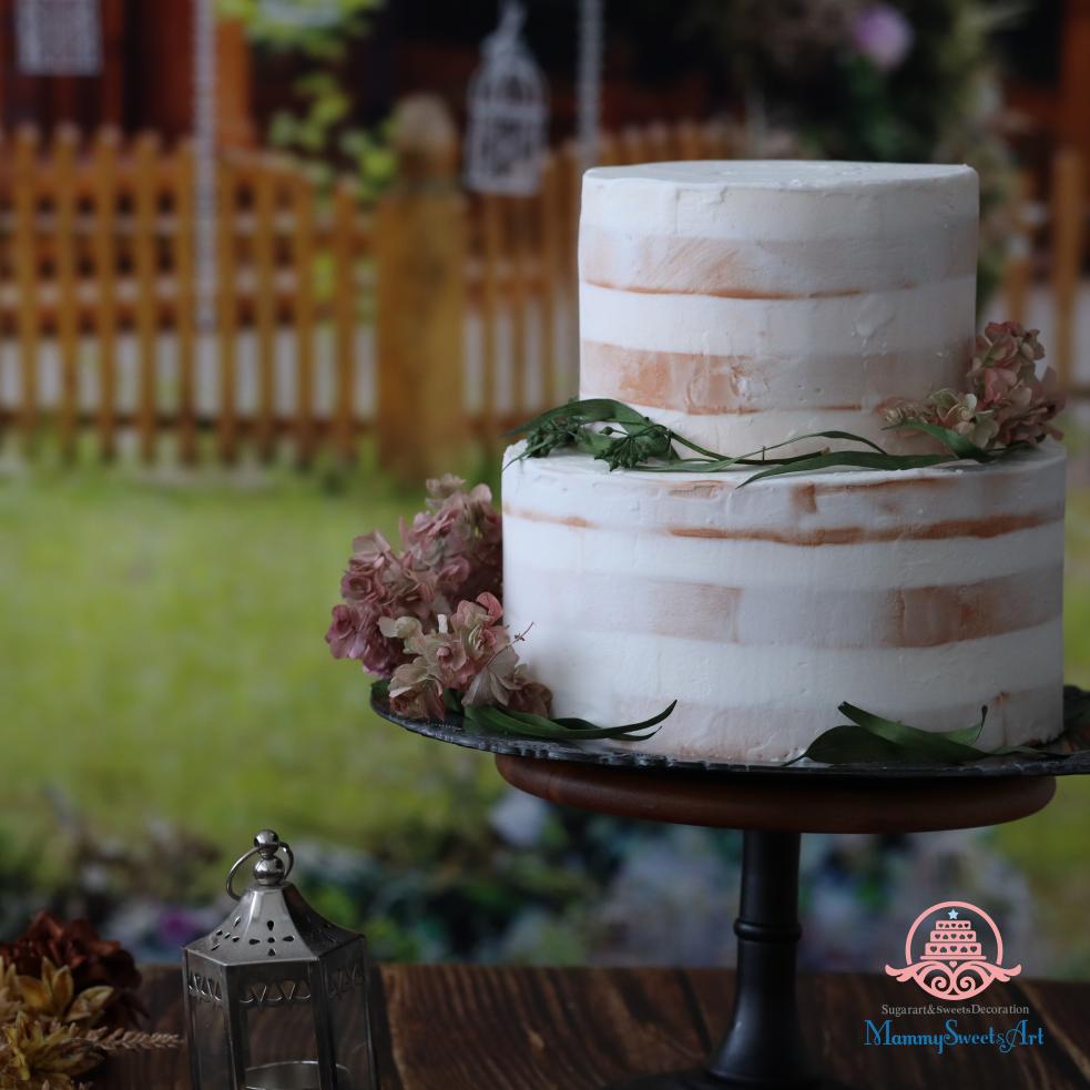 ネイキッドケーキ、ガーデンウェディング、ウェディングケーキ、シュガークラフト、オーダーメード、オーダーケーキ