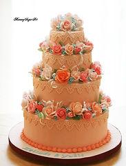 シュガークラフト,ウェディングケーキ,オーダーメードウェディングケーキ,花嫁様手作り,ピンク