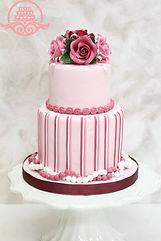 シュガークラフトウェディングケーキ,オーダーメードウェディングケーキ,花嫁様手作り,ピンク,リボン,ストライプ