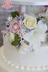 オーダーケーキ,シュガークラフト,ウェディングケーキ,オーダーメードウェディングケーキ,花嫁様手作り,ピンク,リボン,カサブランカ