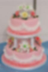 シュガークラフトウェディングケーキ,オーダーメードウェディングケーキ,花嫁様手作り,ピンク,リボン,バラ