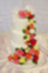 オーダーケーキ,シュガークラフト,ウェディングケーキ,オーダーメードウェディングケーキ,花嫁様手作り,ピンク,リボン,ばら