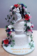 シュガークラフト,ウェディングケーキ,オーダーメードウェディングケーキ,花嫁様手作り,ピンク,リボン,ケーキトッパー