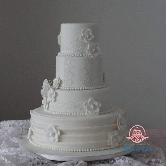 花嫁様、手作り、ウェディングケーキ、シュガークラフトケーキ