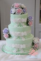 シュガーケーキ,シュガークラフトウェディングケーキ,オーダーメードウェディングケーキ,花嫁様手作り,ミントグリーン