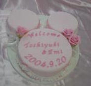 シュガークラフト,ウェディングケーキ,オーダーメードウェディングケーキ,花嫁様手作り,ピンク,リボン,水玉,ディズニーランド,ミッキーマウス