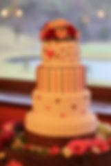 シュガークラフトウェディングケーキ,オーダーメードウェディングケーキ,花嫁様手作り,ピンク,リボン,水玉,ハート