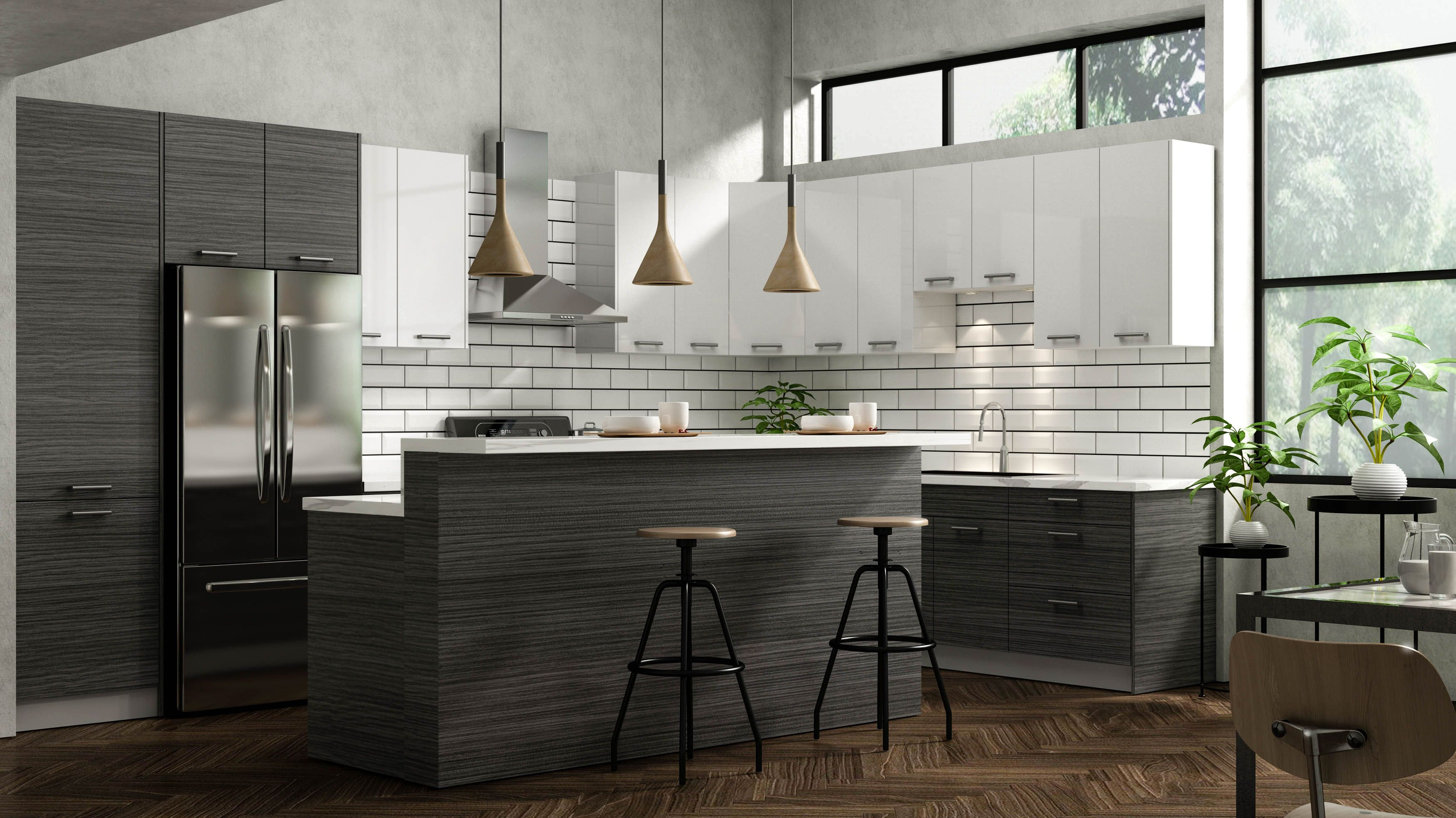 darkwood and white kitchen