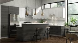 darkwood and white kitchen