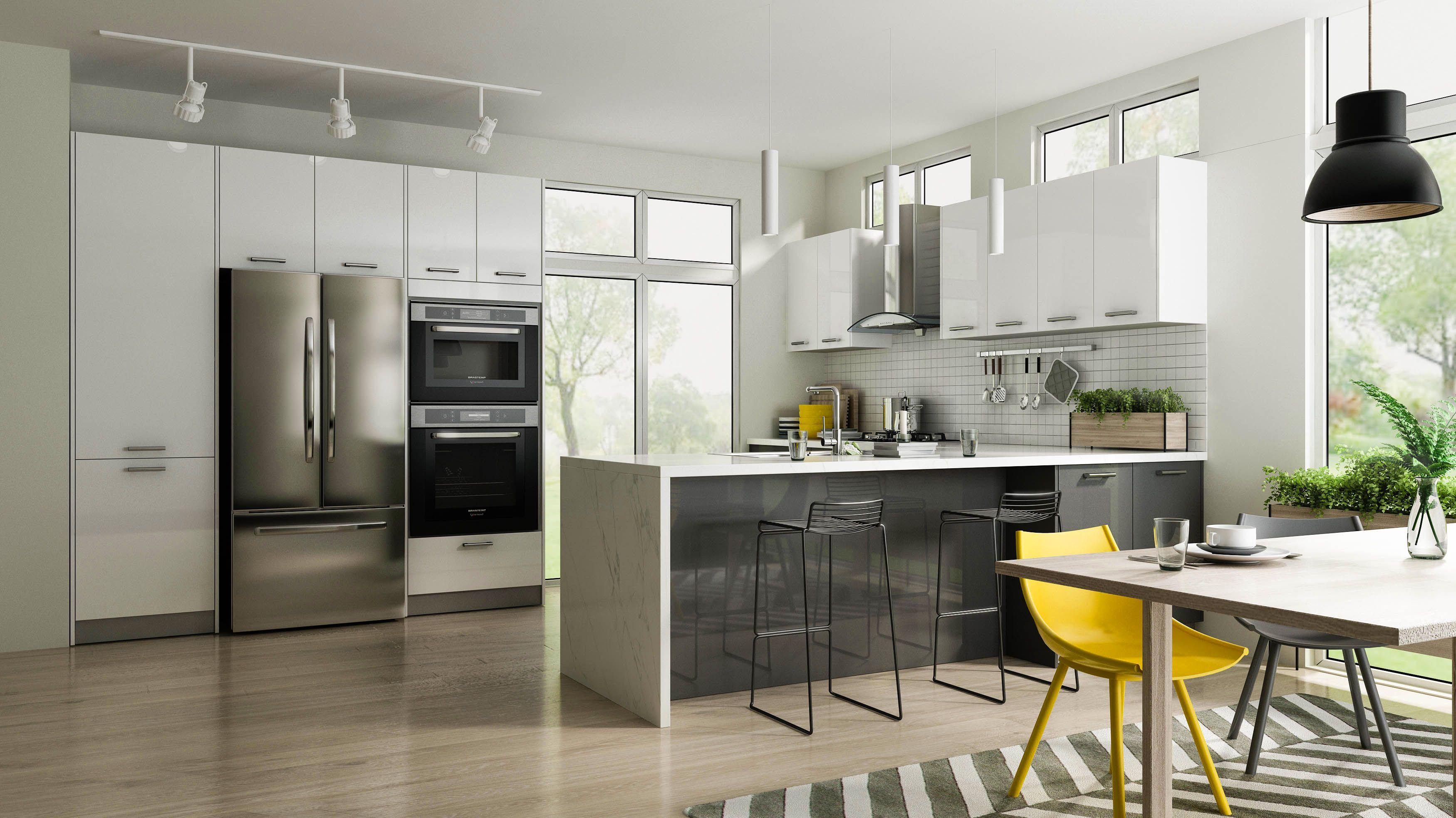 gloss white kitchen gray gloss panel