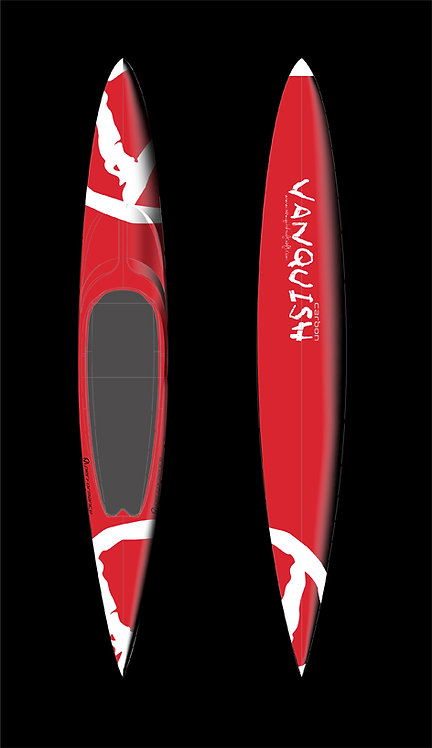 VANQUISH V12' CARBON PRONE PERFORMANCE PADDLEBOARD RED WHITE V