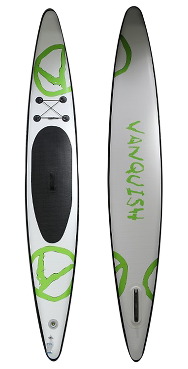 VANQUISH V12' INFLATABLE PADDLE BOARD WHITE GREEN