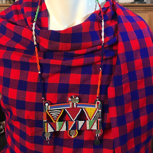"""28"""" Maasai Beaded Square Necklace"""