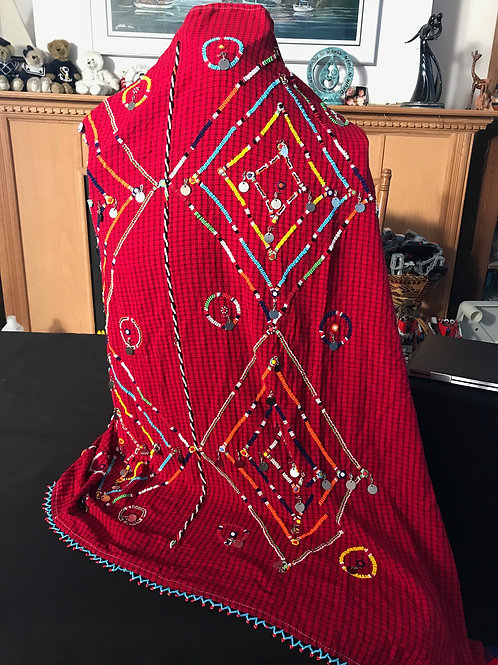 "36"" X 50"" Red Beaded Cover"