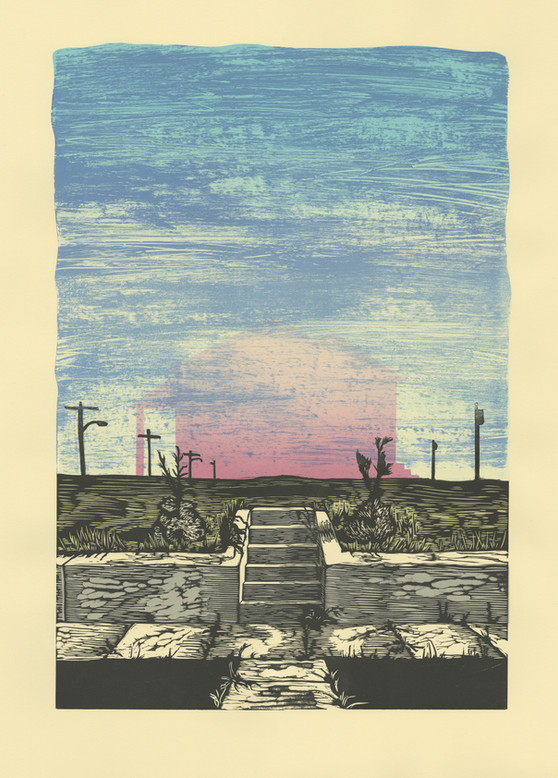 "1982, Woodcut and screenprint, 28""X 22"", 2018"