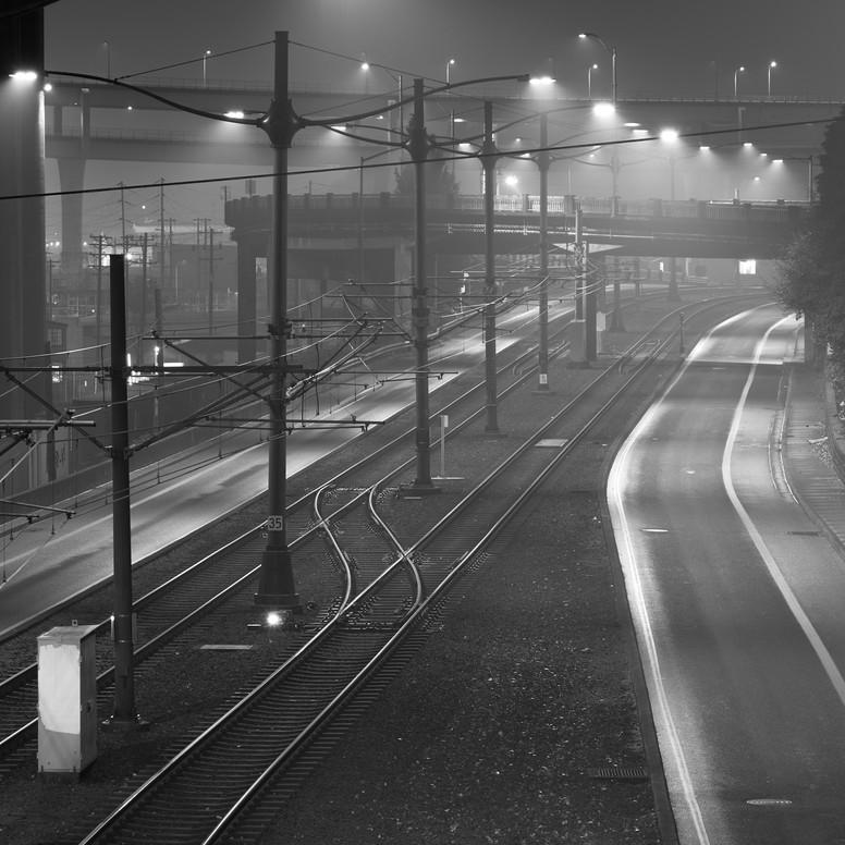 Foggy Night Train Tracks - PDX