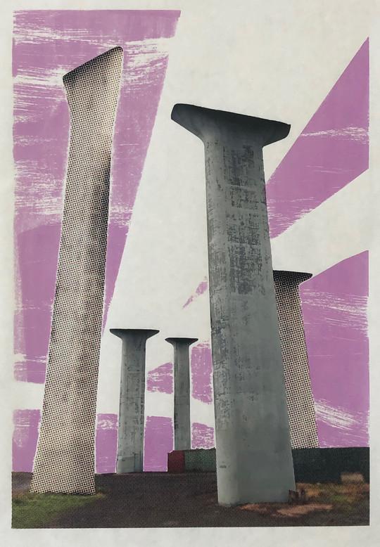 "Ivory Towers, digital and screenprint,36""X 24"", 2019"