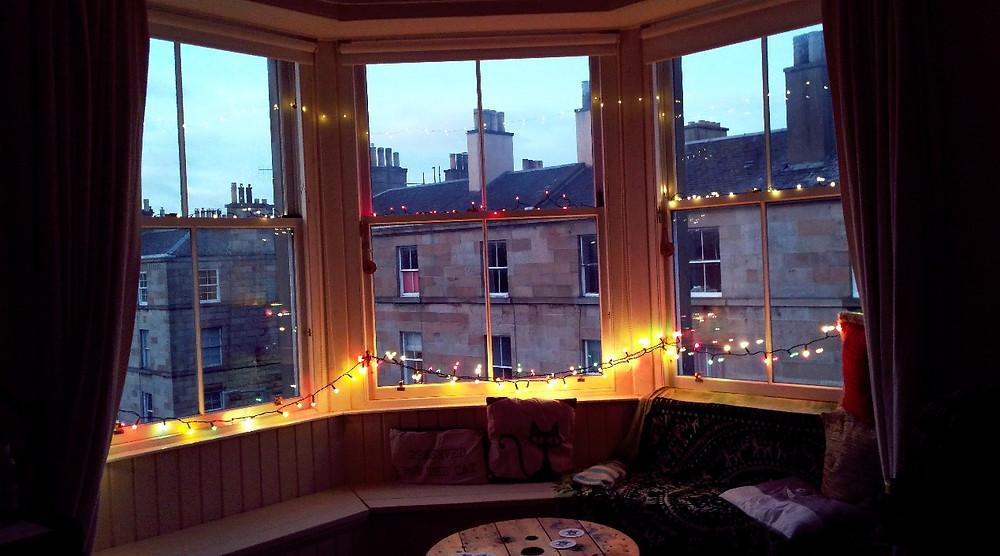 Fairy lights on bay windows