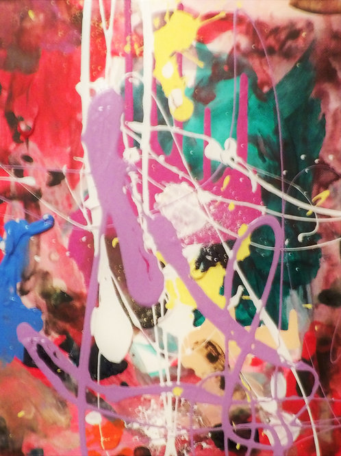 "Original Abstract ""Blue Hint #2"" Size 14x11"