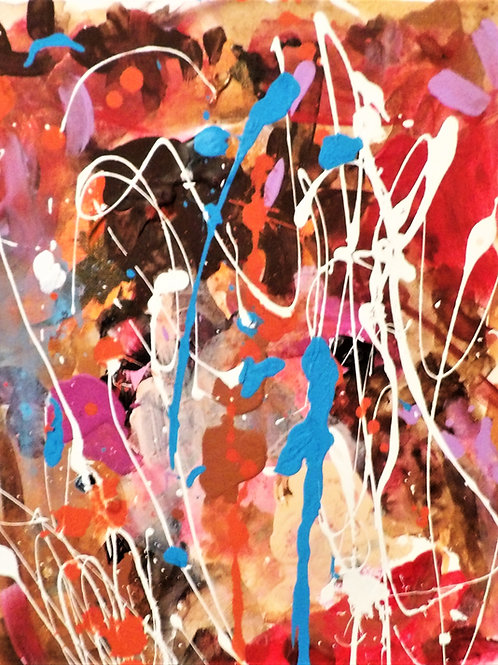 "Original Abstract ""Blue Hint #1"" Size 14x11"