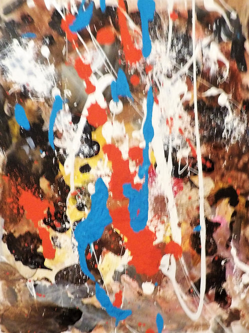 "Original Abstract ""Blue Hint #3"" Size 14x11"