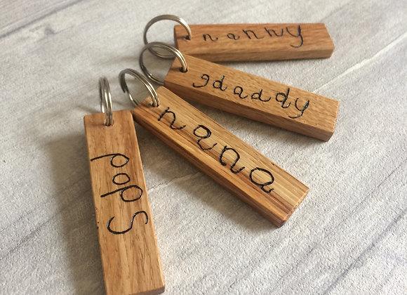 Oak Handwriting Key Ring