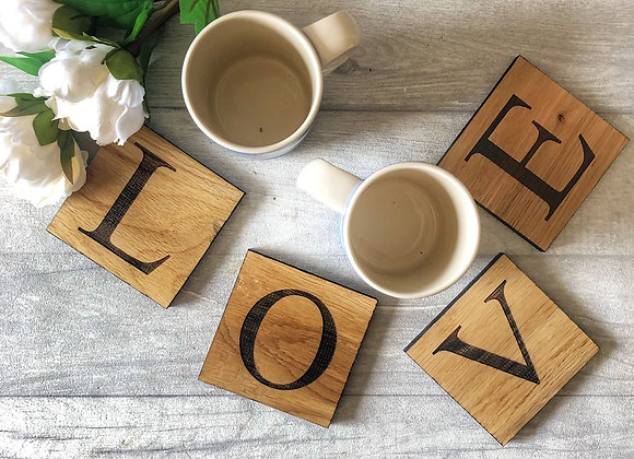 Personalised Oak Alphabet Coaster