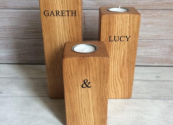 Oak Pillar Tea Light Holder Family Set