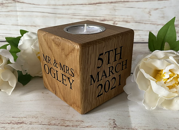 Personalised Oak Anniversary Cube