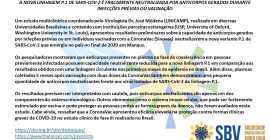A variante brasileira (P1) e os anticorpos gerados durante infecções prévias ou vacinação