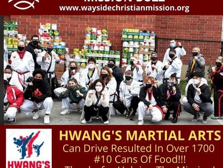 Hwang's Martial Arts Donates 1700 Cans of Food!