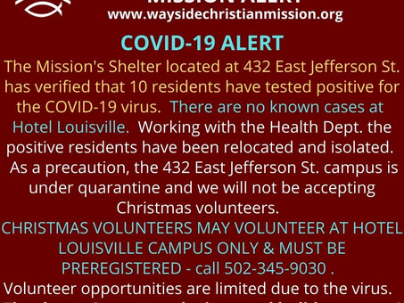 10 Clients Test Positive for COVID-19 Volunteers for Christmas Reduced