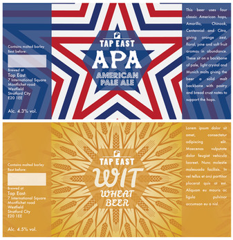Label designs for Tap East