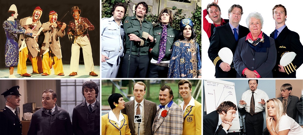 The casts from various sitcoms compared visually to a classic clown troupe