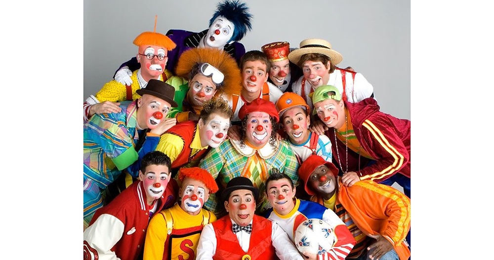 Photo of a clown group demonstrating the visual differences between type of clown