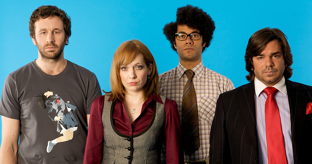 Photo of main cast from sitcom The IT Crowd