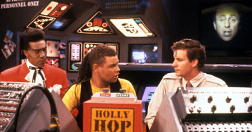 Screenshot of main cast from sitcom Red Dwarf (series one)