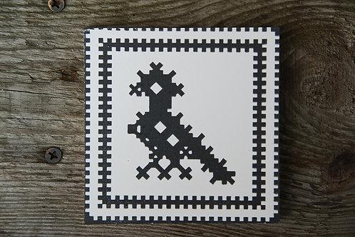 """HAFT ZACHEŁMIAŃSKI """"PTASZEK"""" - płytka ceramiczna 10 x 10 cm"""