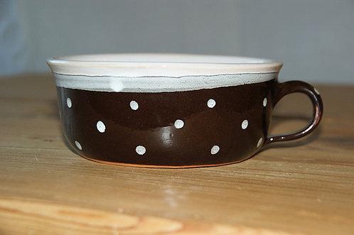 "Miska ceramiczna BRĄZOWA ""Kropka Ciemna"" - 0,5 L"